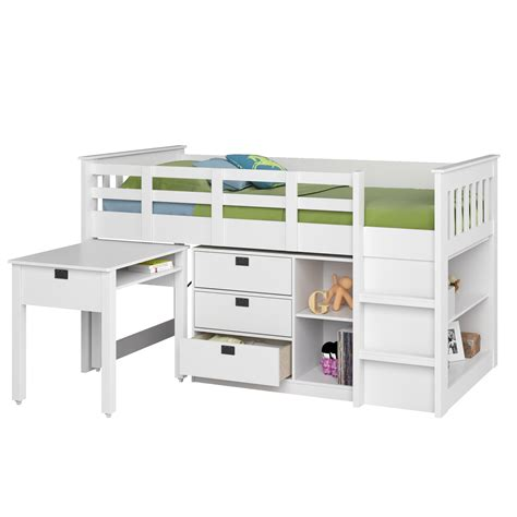 loft bed with desk and storage amazon com corliving bmg 370 b madison loft bed with desk