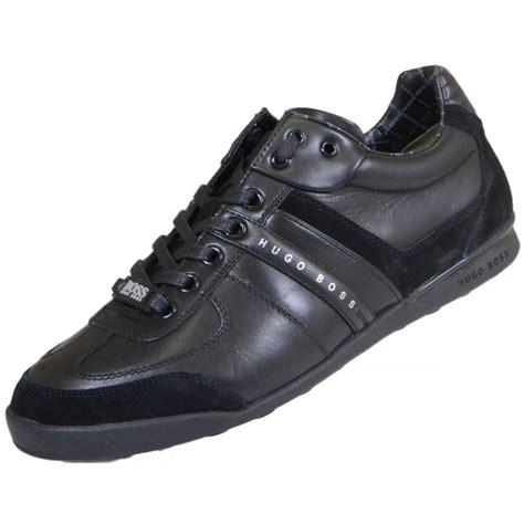 hugo boss footwear green aki leather black trainer hugo