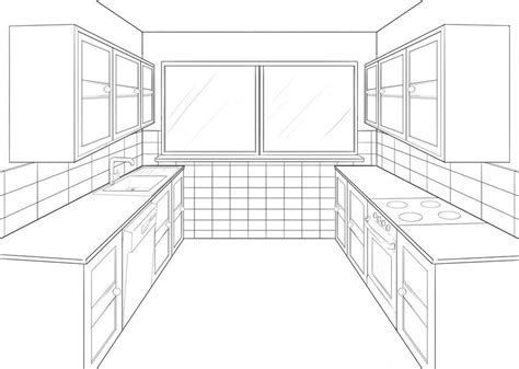 Kuche Zeichnung by Kitchen Perspective Drawing One Point Perspective