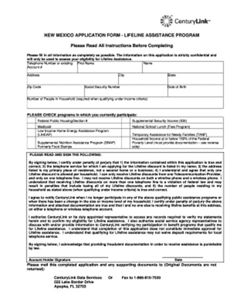 nm century link  application fill  printable