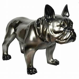 Statue Chien Design : sculpture chien bullldog deco gris cadraven bois deco ~ Teatrodelosmanantiales.com Idées de Décoration