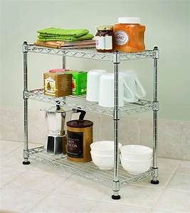 China, Small, 3, Tiers, Diy, Adjustable, Chrome, Kitchen, Metal, Wire, Rack, Shelving, For, Sale