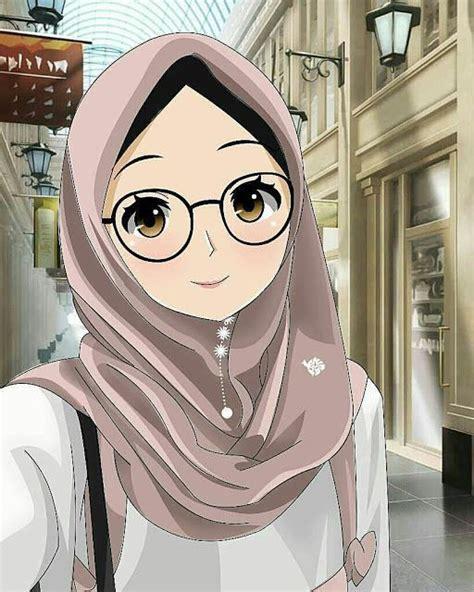 gambar kartun muslimah berkacamata cantik sedih