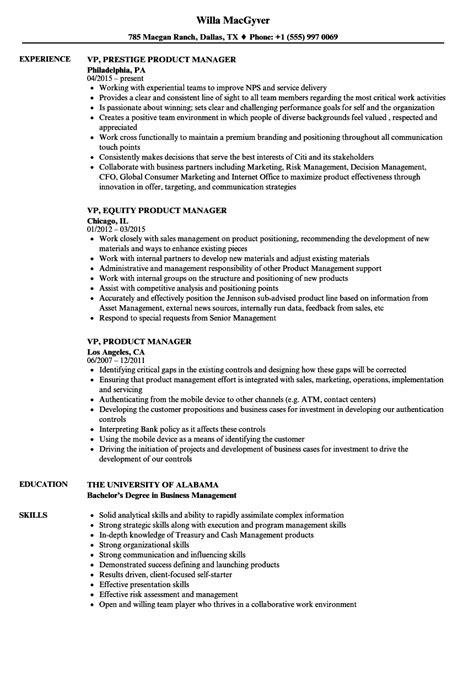 VP, Product Manager Resume Samples   Velvet Jobs