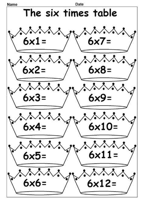 6 times tables worksheets kiddo shelter