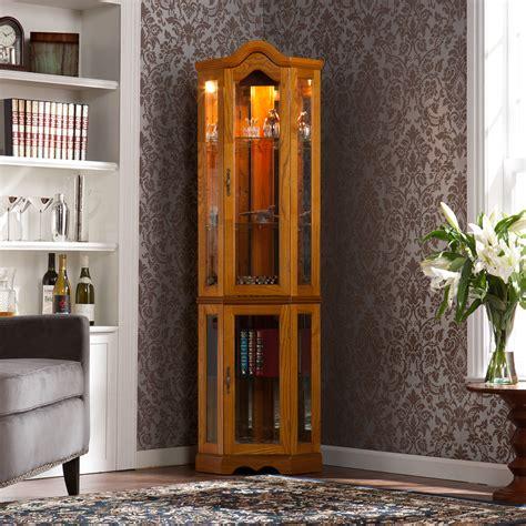 sei lighted corner curio cabinet golden oak wood cm0695 ebay
