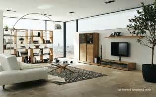 livingroom layout wooden furniture in a contemporary setting