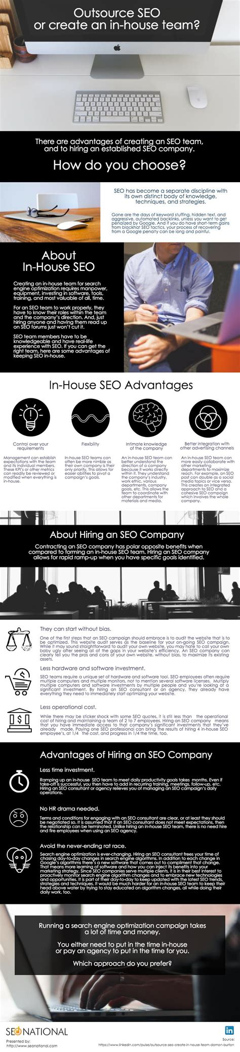 outsource seo outsource seo or keep in house infographic