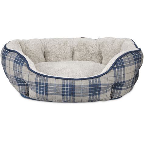 harmony nester dog bed in blue plaid petco