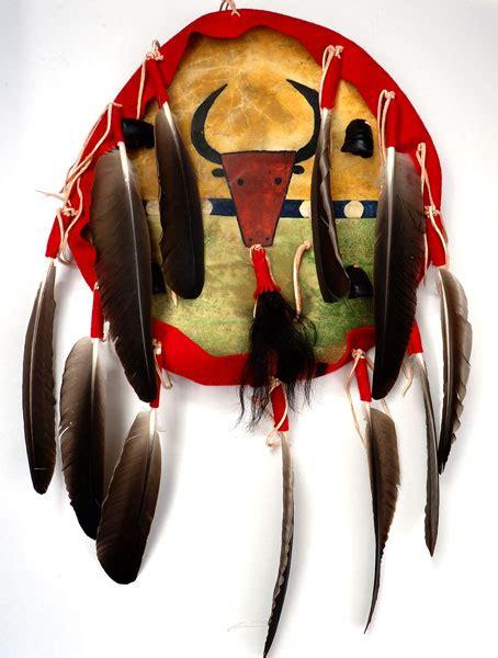 shield buffalo design elk hide  feathers  darrell