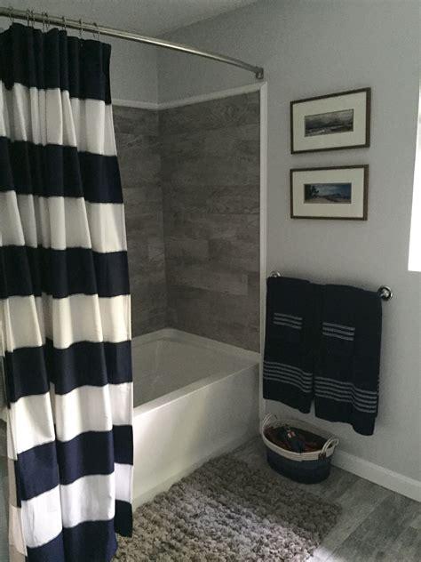 navy grey  white bathroom bathroom remodel grey faux