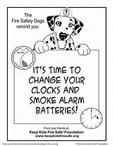 Coloring Fire Change Smoke Safety Pages Alarm Clocks Batteries Alarms Dog Fireman Savings Sparkles Daylight Safe Foundation Clipart March Library sketch template