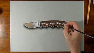 How to draw a 3D knife - YouTube