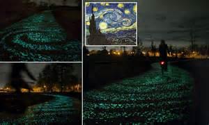 stunning starry night inspired bike path opens