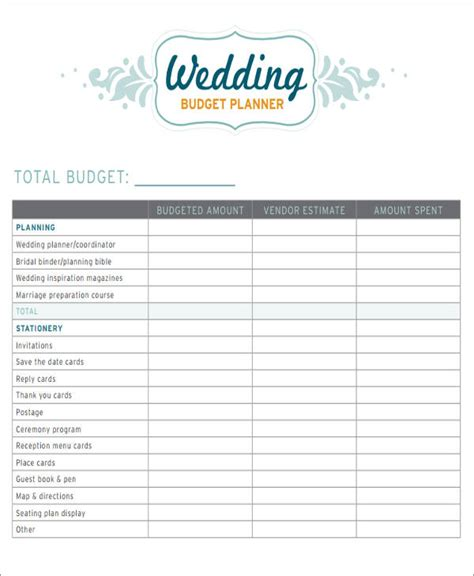 7+ Wedding Budget Worksheets  Sample Templates