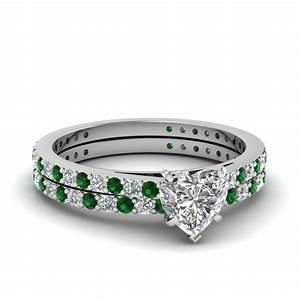 heart shaped petite diamond wedding ring set with emerald With emerald and diamond wedding ring sets