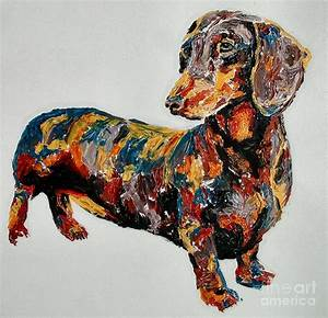 Doxie Painting by Debbie Sampson