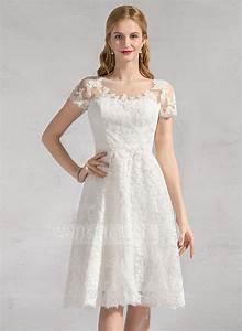 a line princess scoop neck knee length lace wedding dress With knee length wedding dress