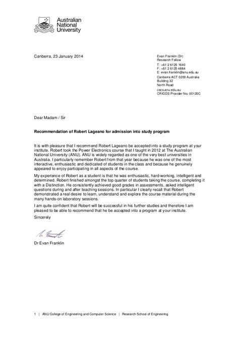 ANU - REFERENCE LETTER