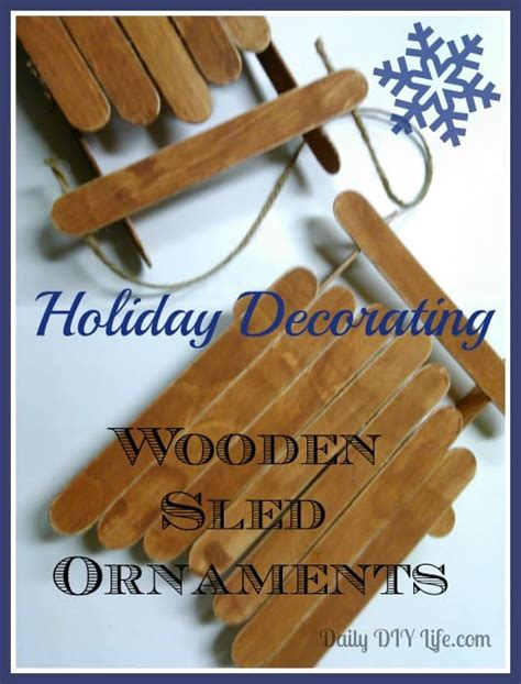 holiday decorating wooden sled ornaments