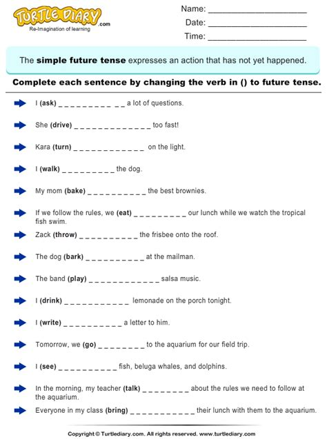complete sentences  writing future tense form  verb