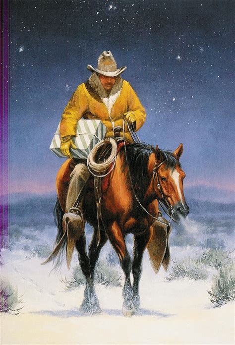 Great pyrenees christmas holiday cards are 8 1/2 x 5 1/2 and come in packages of 12 cards. Lone Cowboy | Cowboy christmas cards, Western christmas, Cowboy christmas