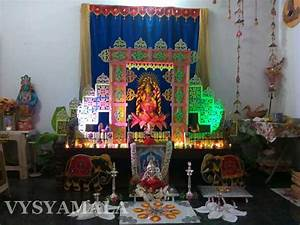Gowri and Ganesh Pooja - Thermocol Decoration - Vysyamala ...