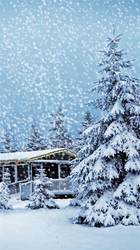 schnee winterwald haus iphone xgs