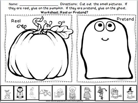 students sort real  pretend halloween images