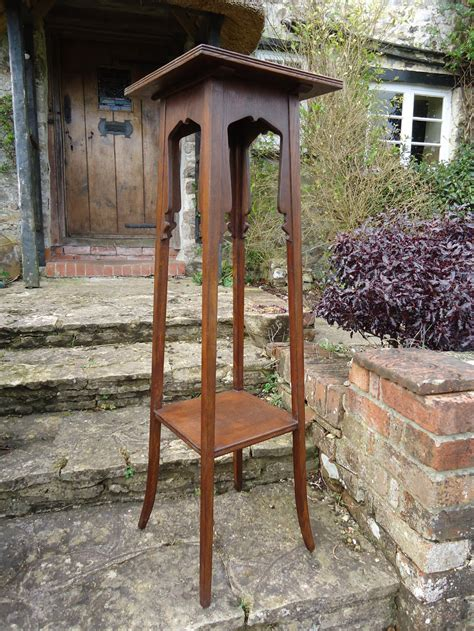 tall arts crafts plant stand  tiles antiques