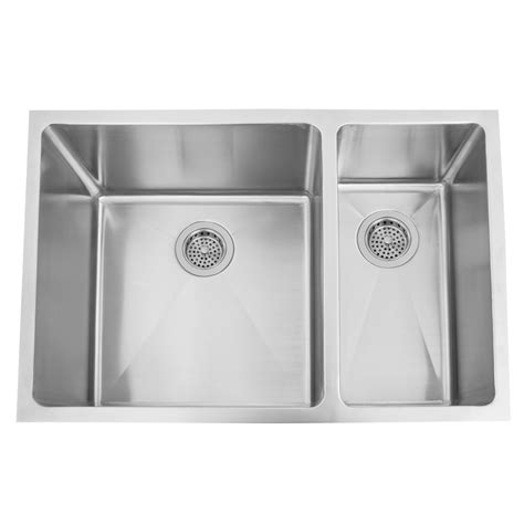 shallow undermount kitchen sink 29 quot infinite 70 30 offset bowl stainless steel 5174