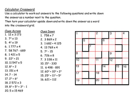 gcse maths starter calculator crossword by