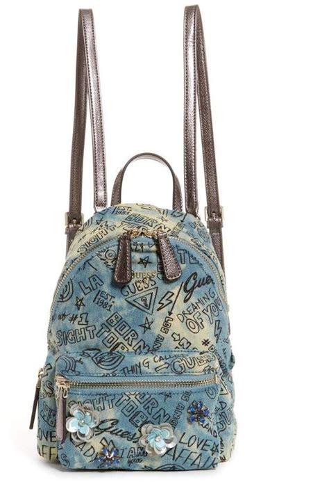 guess leeza denim graffiti small backpack  backpack
