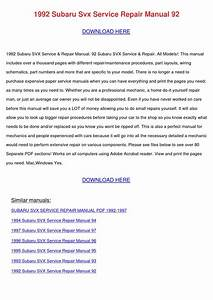 1992 Subaru Svx Service Repair Manual 92 By Celiabowie