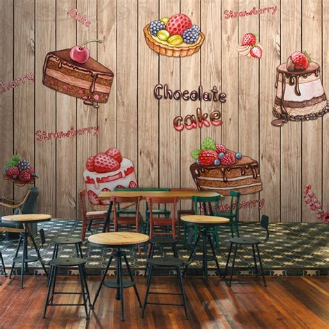 hand painted  dessert food background wall wallpaper