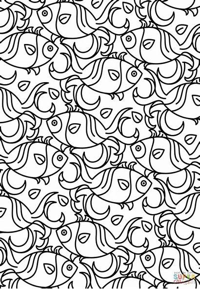 Coloring Pages Pattern Printable Aztec Fish Adult