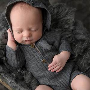 Newborn Photography Props Hooded Romper Long Sleeve Newborn Boy Outfit Photography Accessories ...