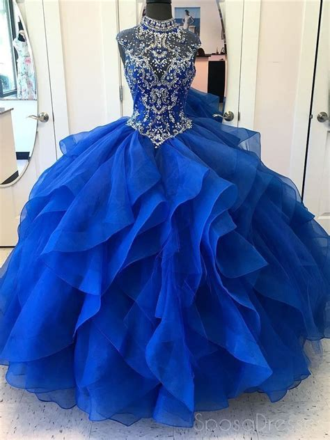 royal blue ball gown high neck rhinestone beaded long