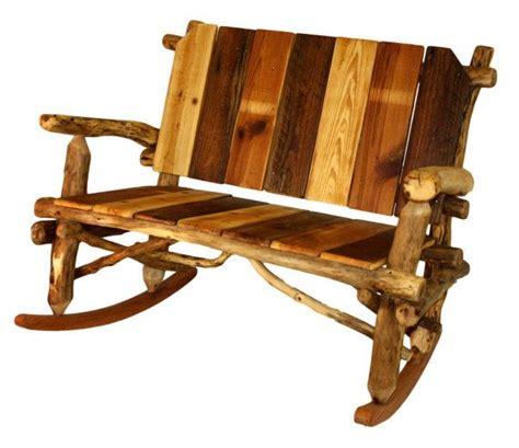 rustic furniture rocking bench rocking chair log rocking