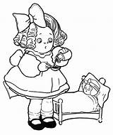 Coloring Pages Doll Dolls Playing Sick Bed sketch template