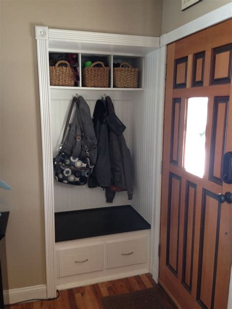 Entry Closet Organization Ideas by Small Front Closet Turned In To Mini Mud Room