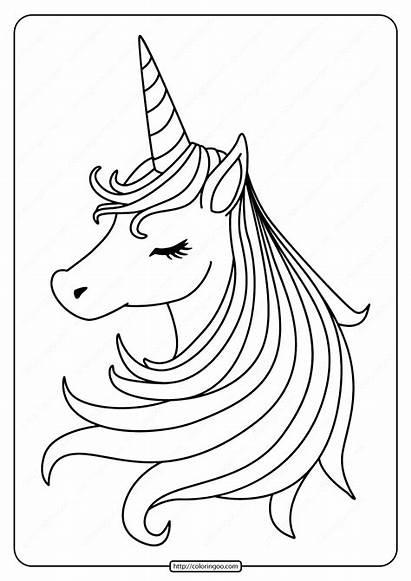 Unicorn Printable Pdf Coloring Sleeping Coloringoo Ages