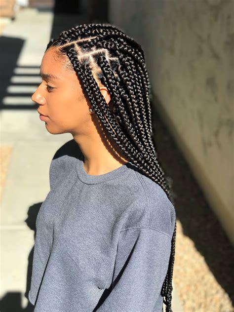 medium small sized box braids black brown box braids