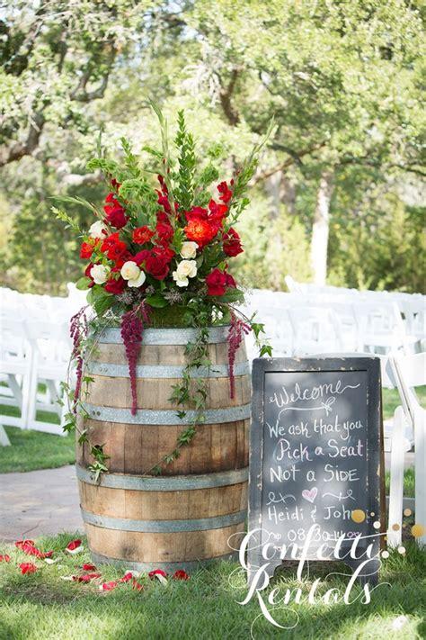 rustic country wine barrel wedding ideas   puff