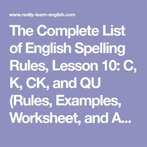 complete list  english spelling rules lesson