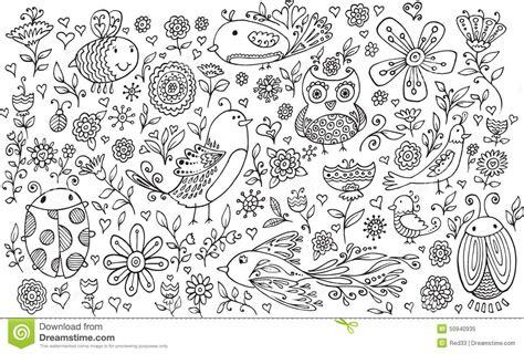 Flower Bird Doodle Vector Set Stock Vector