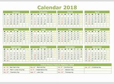 Yearly Calendar 2018 Printable Activity Shelter