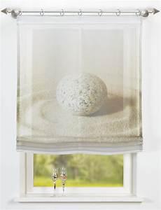 Raffrollo 40 Cm : voile raffrollo sand mit digitaldruck motiv in 60cm breit ebay ~ Markanthonyermac.com Haus und Dekorationen