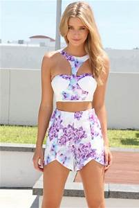 Tank top white sabo skirt bustier lilac blue party shirt shorts two-piece crop tops ...