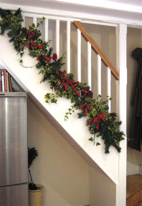 bottom christmas banister decorating ideas view